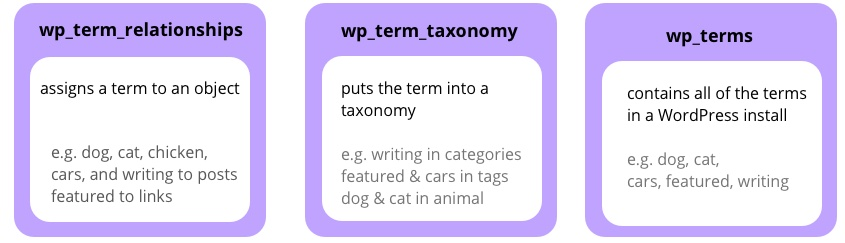 an image showing the current taxonomy structure of WordPress